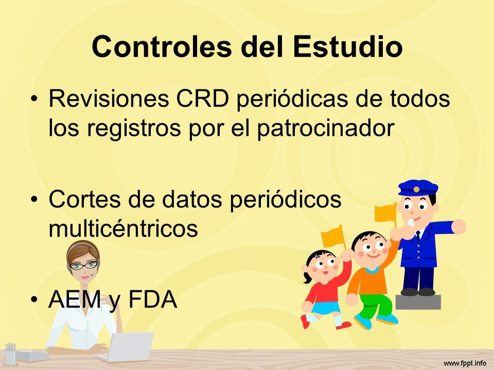 Controles del Estudio Revisiones CRD periódicas de todos los registros por el patrocinador Cortes de datos periódicos multicéntricos AEM y FDA