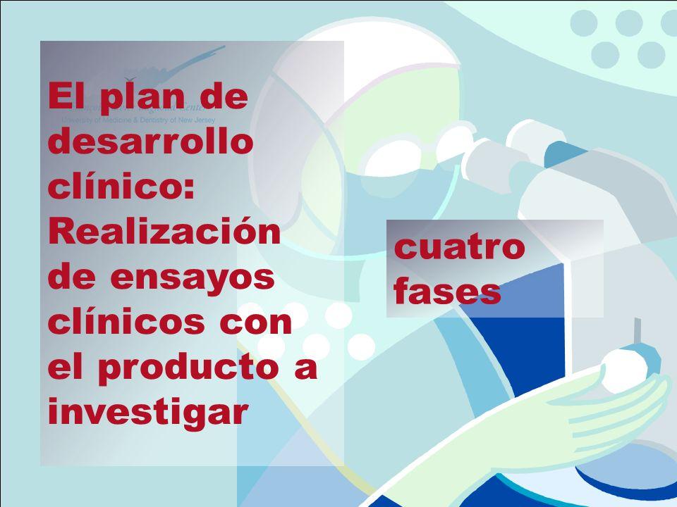 El plan de desarrollo clínico: Realización de ensayos clínicos con el producto a investigar cuatro fases