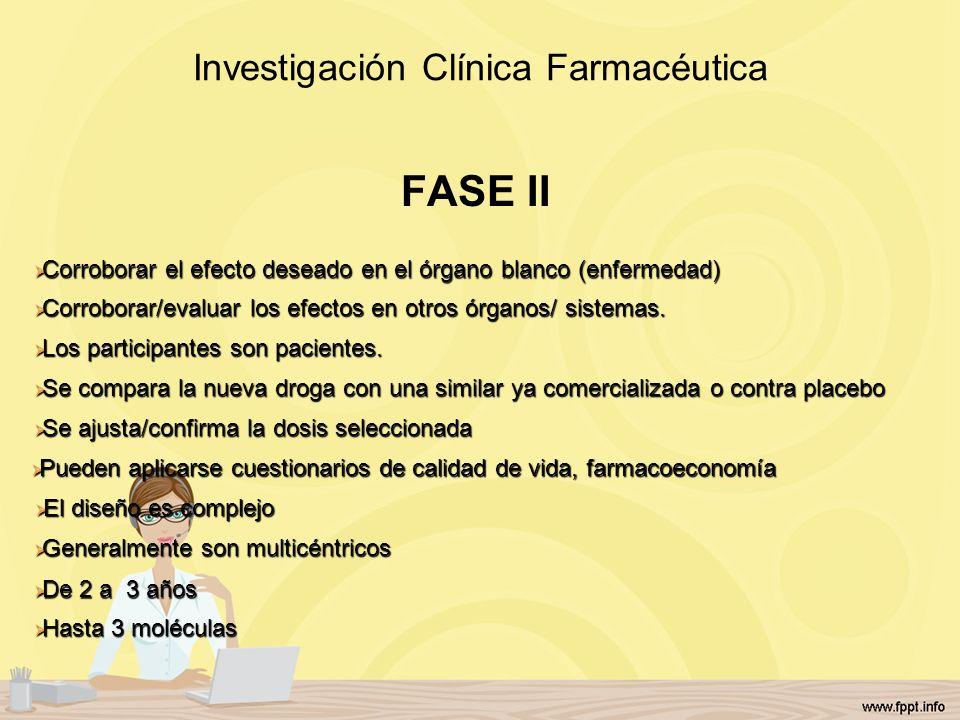 Investigación Clínica Farmacéutica FASE II Corroborar el efecto deseado en el órgano blanco (enfermedad) Corroborar el efecto deseado en el órgano bla