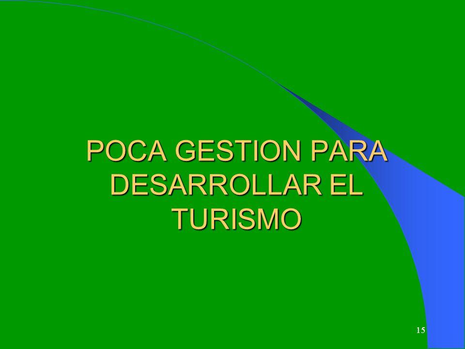 15 POCA GESTION PARA DESARROLLAR EL TURISMO