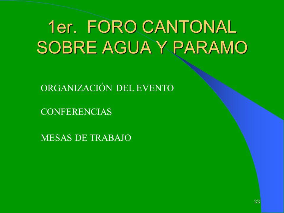 22 1er. FORO CANTONAL SOBRE AGUA Y PARAMO ORGANIZACIÓN DEL EVENTO CONFERENCIAS MESAS DE TRABAJO