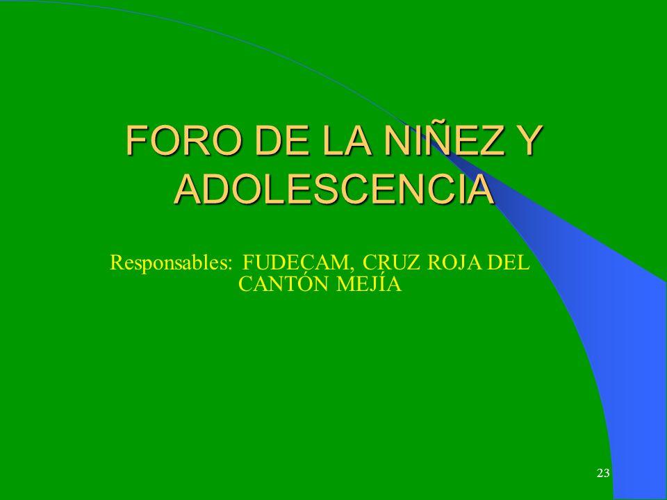 23 FORO DE LA NIÑEZ Y ADOLESCENCIA Responsables: FUDECAM, CRUZ ROJA DEL CANTÓN MEJÍA