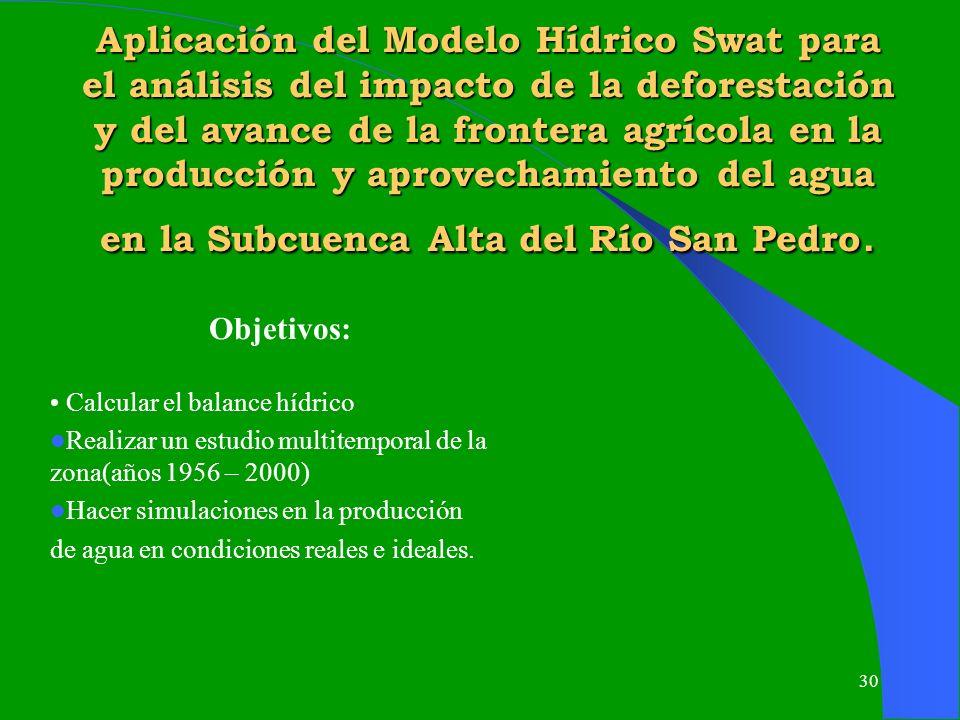 30 Aplicación del Modelo Hídrico Swat para el análisis del impacto de la deforestación y del avance de la frontera agrícola en la producción y aprovec