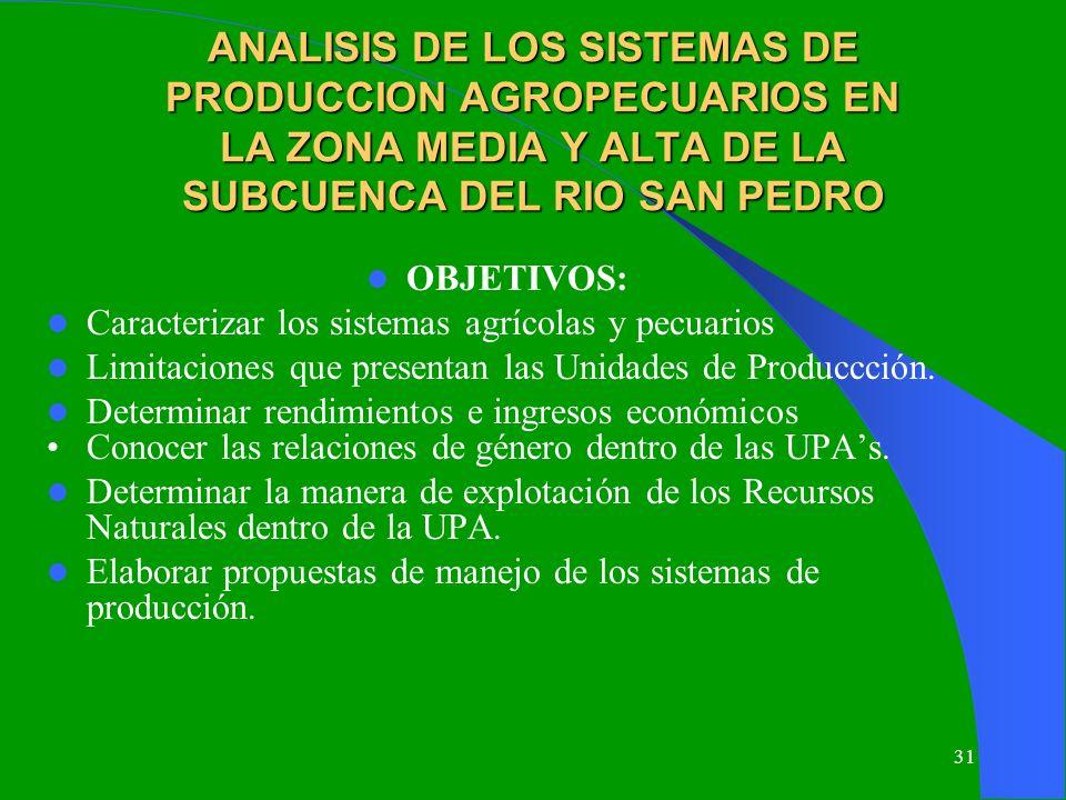 31 ANALISIS DE LOS SISTEMAS DE PRODUCCION AGROPECUARIOS EN LA ZONA MEDIA Y ALTA DE LA SUBCUENCA DEL RIO SAN PEDRO OBJETIVOS: Caracterizar los sistemas