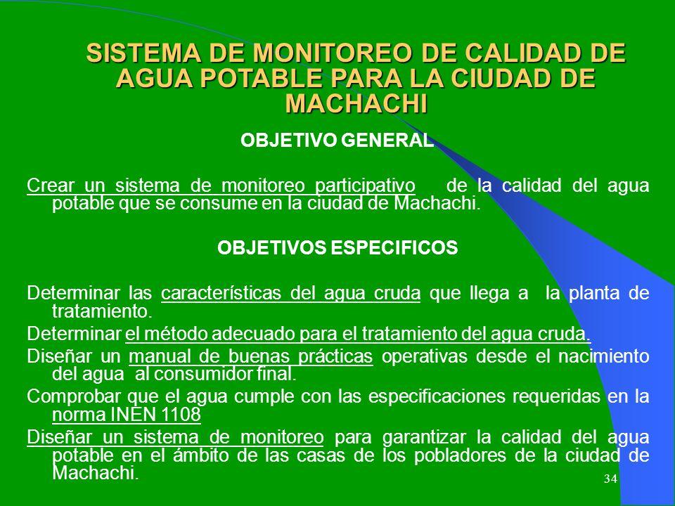 34 SISTEMA DE MONITOREO DE CALIDAD DE AGUA POTABLE PARA LA CIUDAD DE MACHACHI OBJETIVO GENERAL Crear un sistema de monitoreo participativo de la calid