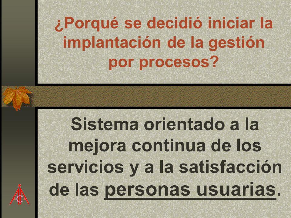 ¿Porqué se decidió iniciar la implantación de la gestión por procesos? Sistema orientado a la mejora continua de los servicios y a la satisfacción de