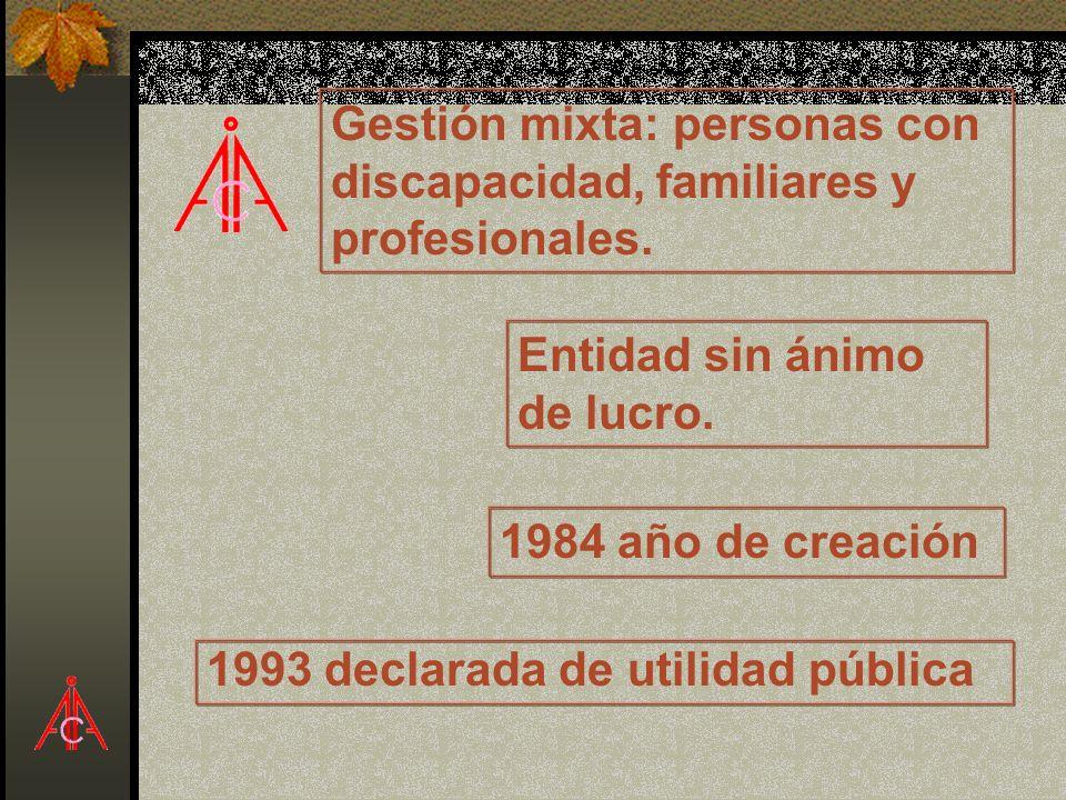 Entidad sin ánimo de lucro. 1984 año de creación 1993 declarada de utilidad pública Gestión mixta: personas con discapacidad, familiares y profesional