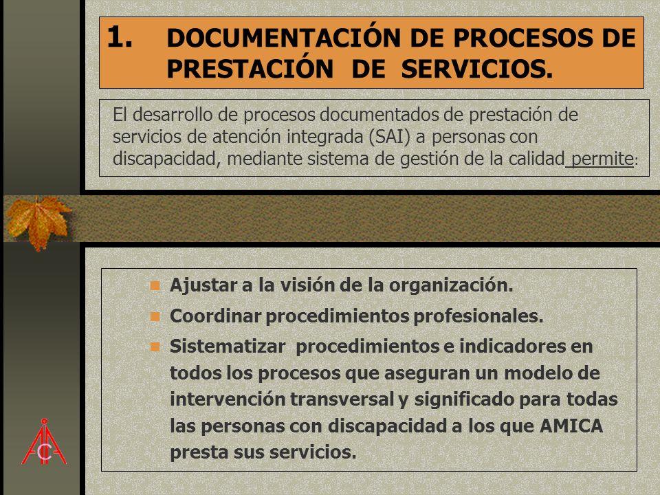 1. DOCUMENTACIÓN DE PROCESOS DE PRESTACIÓN DE SERVICIOS. El desarrollo de procesos documentados de prestación de servicios de atención integrada (SAI)