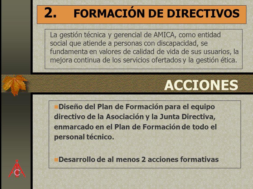 2. FORMACIÓN DE DIRECTIVOS La gestión técnica y gerencial de AMICA, como entidad social que atiende a personas con discapacidad, se fundamenta en valo