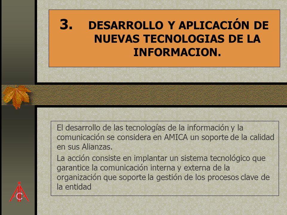 3. DESARROLLO Y APLICACIÓN DE NUEVAS TECNOLOGIAS DE LA INFORMACION. El desarrollo de las tecnologías de la información y la comunicación se considera