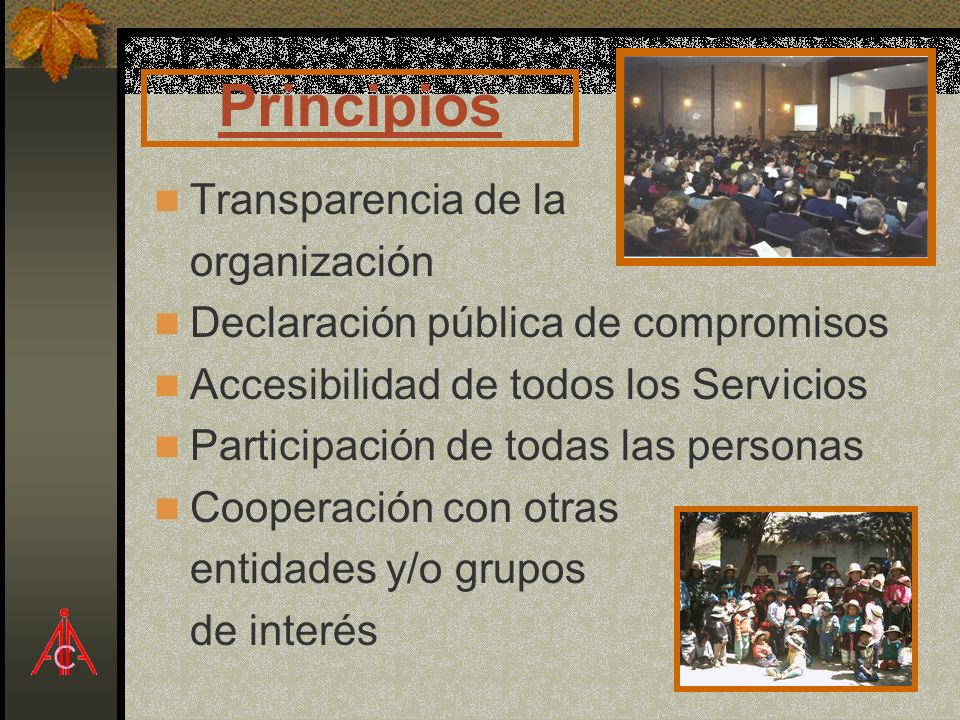 Principios Transparencia de la organización Declaración pública de compromisos Accesibilidad de todos los Servicios Participación de todas las persona