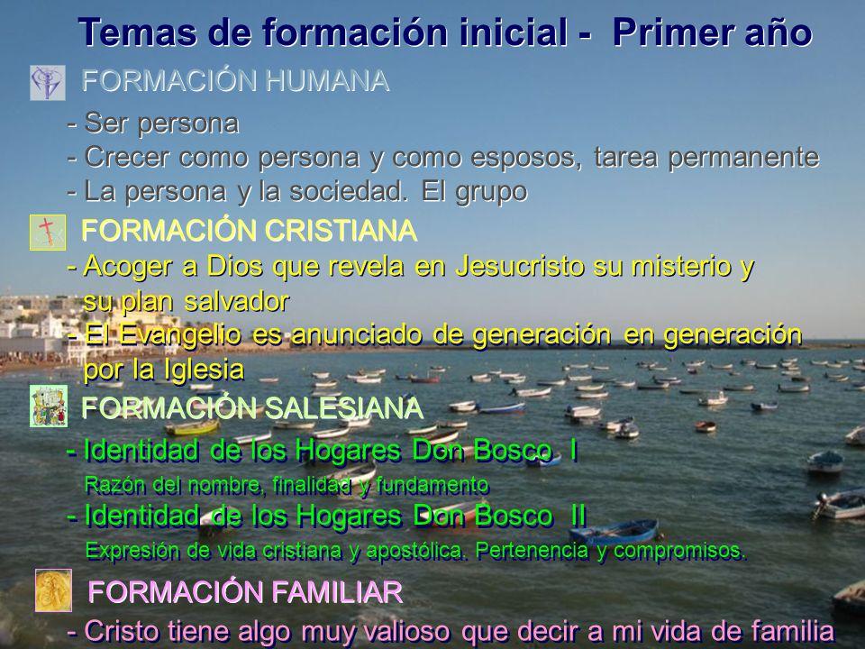 Temas de formación inicial - Primer año FORMACIÓN HUMANA FORMACIÓN HUMANA FORMACIÓN CRISTIANA FORMACIÓN CRISTIANA FORMACIÓN SALESIANA FORMACIÓN SALESIANA FORMACIÓN FAMILIAR FORMACIÓN FAMILIAR - Ser persona - Ser persona - Crecer como persona y como esposos, tarea permanente - Crecer como persona y como esposos, tarea permanente - La persona y la sociedad.