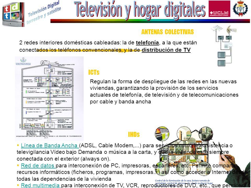 2 redes interiores domésticas cableadas: la de telefonía, a la que están conectados los teléfonos convencionales, y la de distribución de TV ANTENAS C