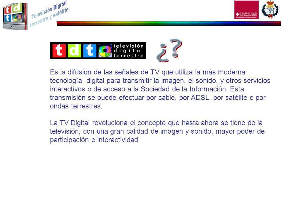 Es la difusión de las señales de TV que utiliza la más moderna tecnología digital para transmitir la imagen, el sonido, y otros servicios interactivos