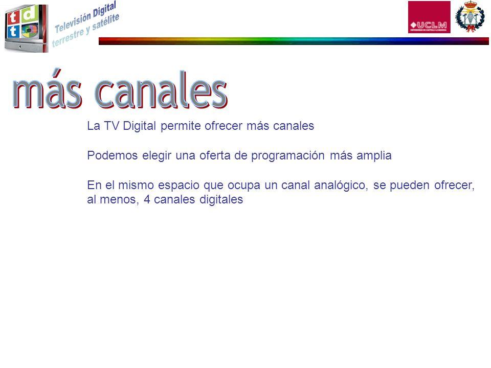 La TV Digital permite ofrecer más canales Podemos elegir una oferta de programación más amplia En el mismo espacio que ocupa un canal analógico, se pu