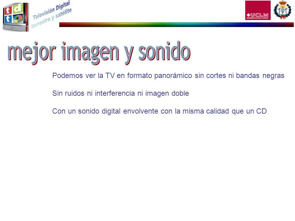 Podemos ver la TV en formato panorámico sin cortes ni bandas negras Sin ruidos ni interferencia ni imagen doble Con un sonido digital envolvente con l