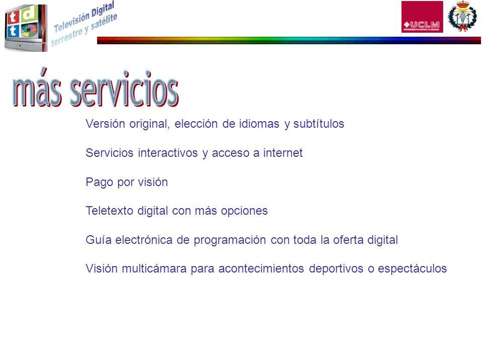 Versión original, elección de idiomas y subtítulos Servicios interactivos y acceso a internet Pago por visión Teletexto digital con más opciones Guía