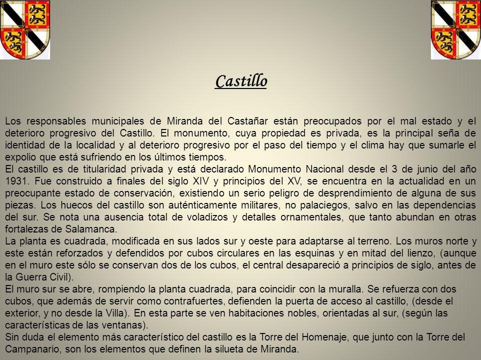 Castillo Los responsables municipales de Miranda del Castañar están preocupados por el mal estado y el deterioro progresivo del Castillo.