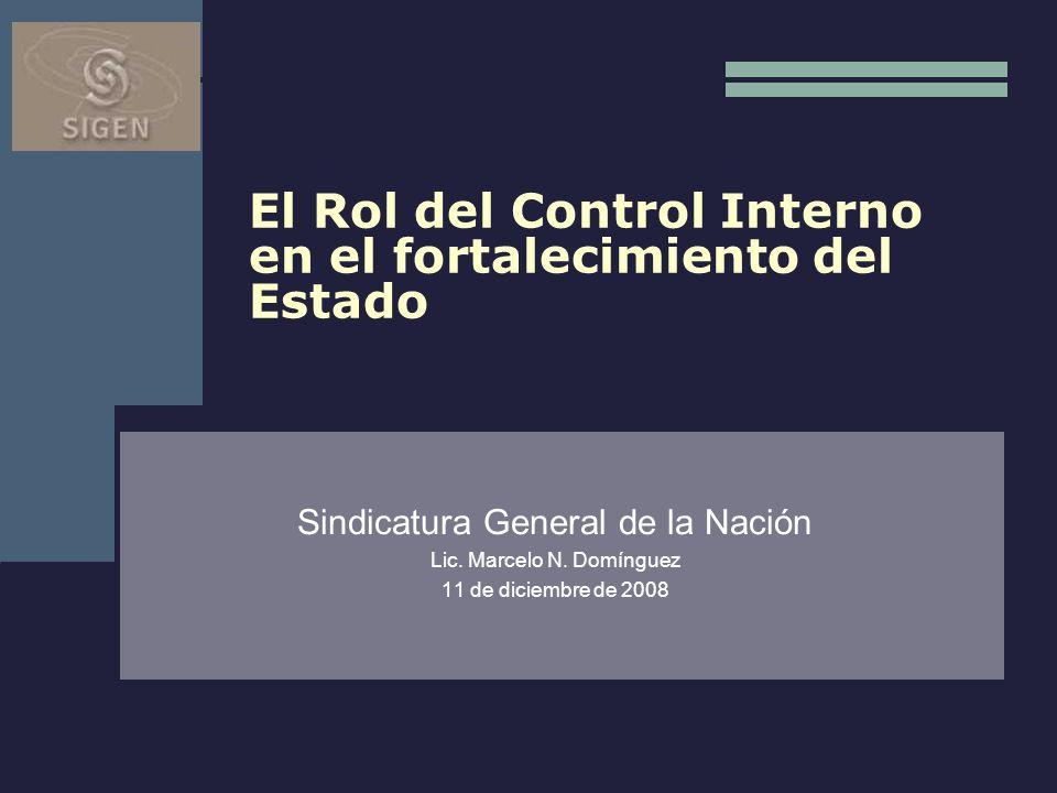 El Rol del Control Interno en el fortalecimiento del Estado Sindicatura General de la Nación Lic. Marcelo N. Domínguez 11 de diciembre de 2008