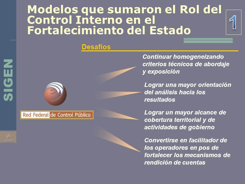 SIGEN Modelos que sumaron el Rol del Control Interno en el Fortalecimiento del Estado Desafíos Continuar homogeneizando criterios técnicos de abordaje