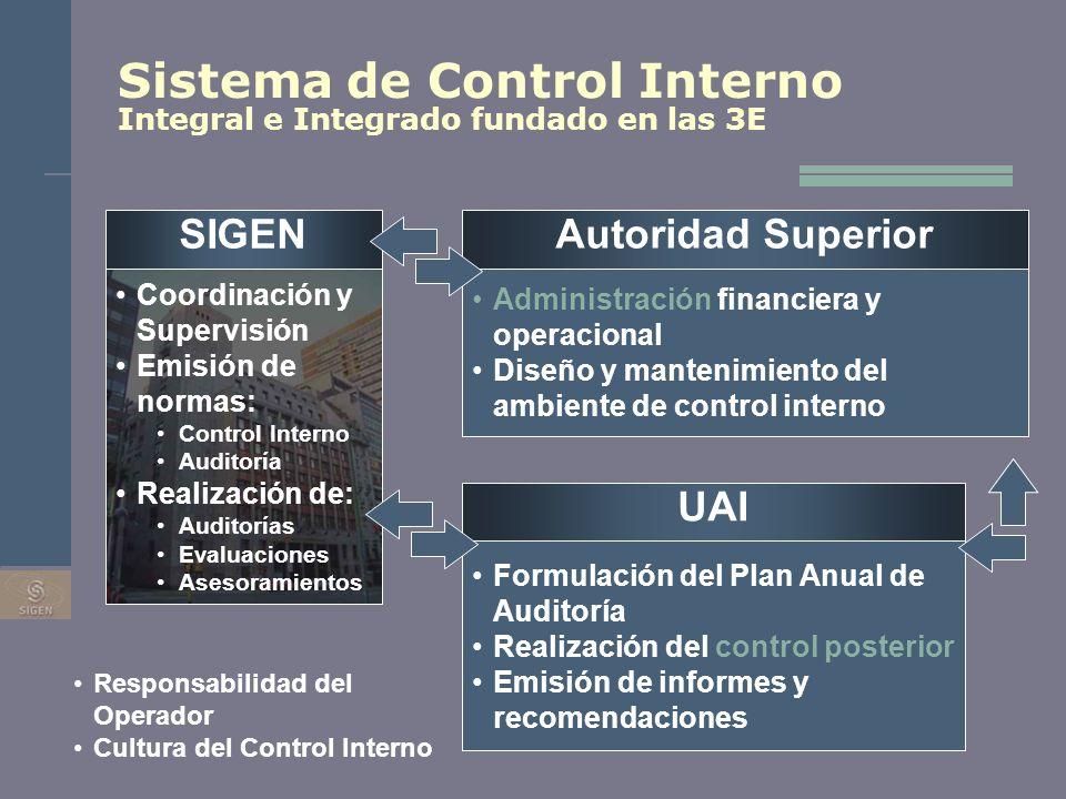 Sistema de Control Interno Integral e Integrado fundado en las 3E SIGEN Coordinación y Supervisión Emisión de normas: Control Interno Auditoría Realiz