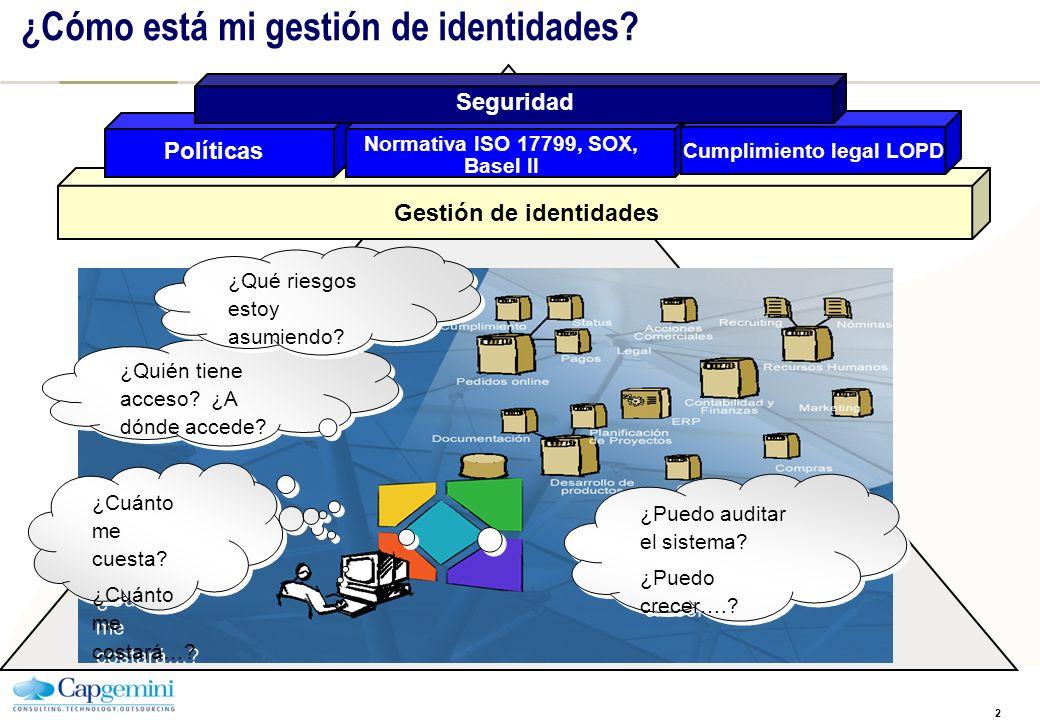 2 ¿Cómo está mi gestión de identidades? Gestión de identidades Normativa ISO 17799, SOX, Basel II Cumplimiento legal LOPD Políticas Seguridad Sistemas