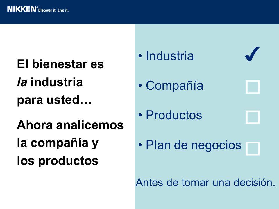 El bienestar es la industria para usted… Ahora analicemos la compañía y los productos Industria Compañía Productos Plan de negocios Antes de tomar una