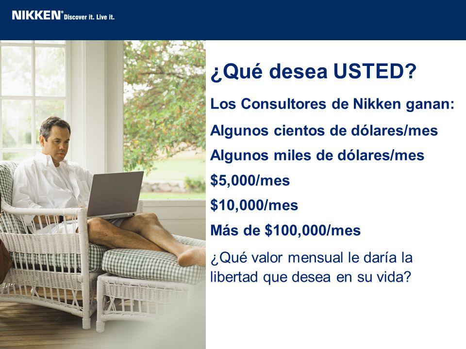 ¿Qué desea USTED? Los Consultores de Nikken ganan: Algunos cientos de dólares/mes Algunos miles de dólares/mes $5,000/mes $10,000/mes Más de $100,000/