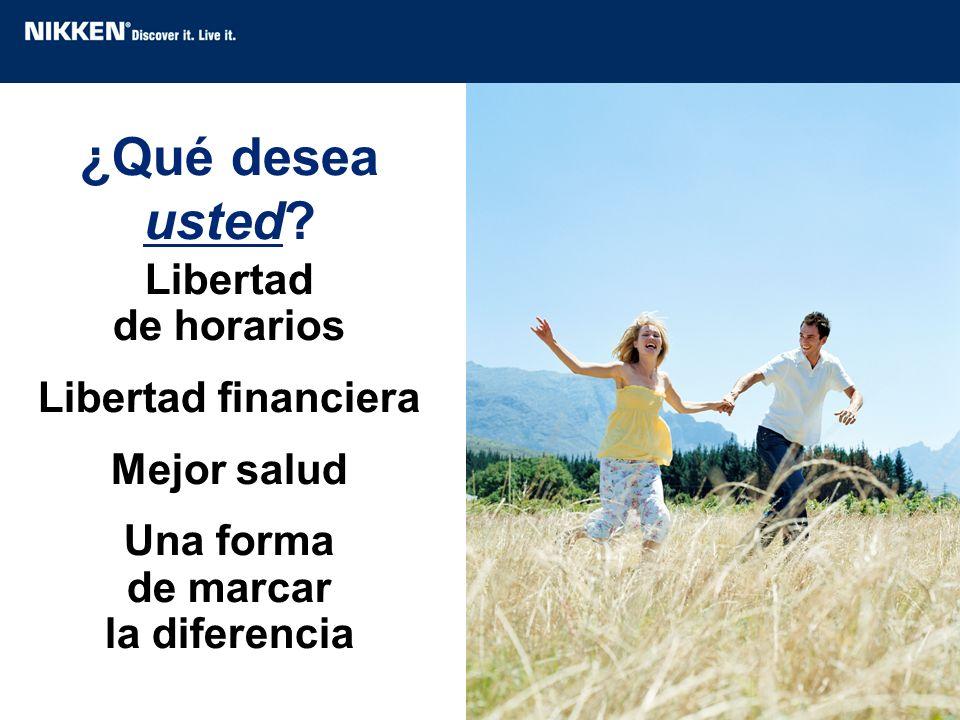 ¿Qué desea usted? Libertad de horarios Libertad financiera Mejor salud Una forma de marcar la diferencia
