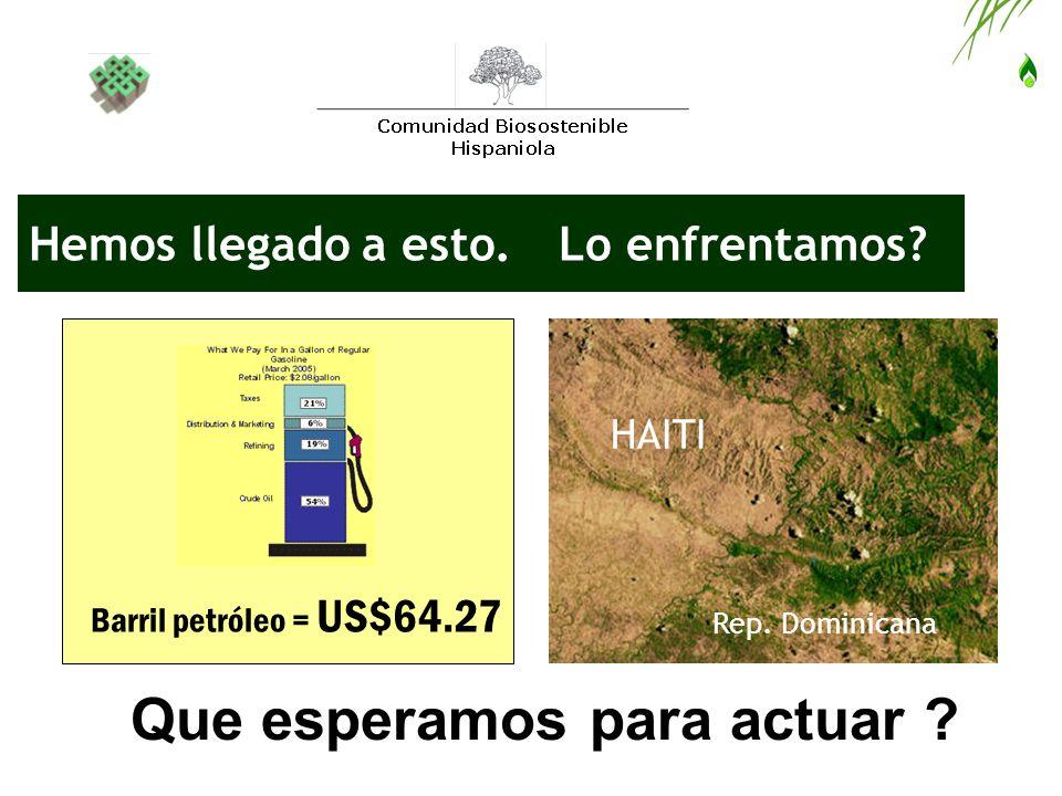 Hemos llegado a esto. HAITI Rep. Dominicana Que esperamos para actuar ? Barril petróleo = US$64.27 Lo enfrentamos?