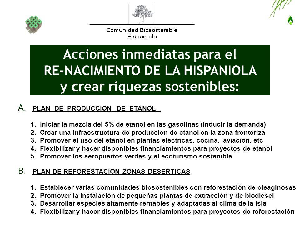 Acciones inmediatas para el RE-NACIMIENTO DE LA HISPANIOLA y crear riquezas sostenibles: A. PLAN DE PRODUCCION DE ETANOL 1. Iniciar la mezcla del 5% d