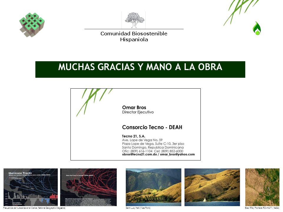 MUCHAS GRACIAS Y MANO A LA OBRA Elias Piña, Frontera RD–HAITI ( NASA)Frecuencia de huracanes en el Caribe (National Geographic Magazine)Saint Luis, Ha