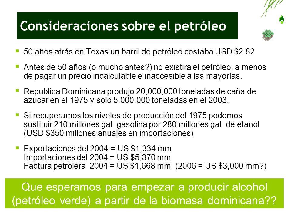 Relación entre petróleo y pobreza USD $15.00 (2004) USD $25.00 (2005?) = gasto en derivados del petróleo importado x dominicano x mes En esa cantidad contribuye cada dominicano a aumentar el déficit de la balanza comercial incentivando importaciones caras y disminuyendo los empleos rurales en la misma medida.