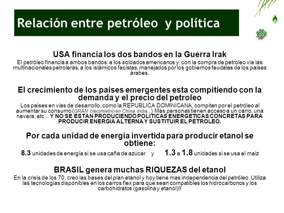 Relación entre petróleo y política USA financia los dos bandos en la Guerra Irak El petróleo financia a ambos bandos: a los soldados americanos y, con
