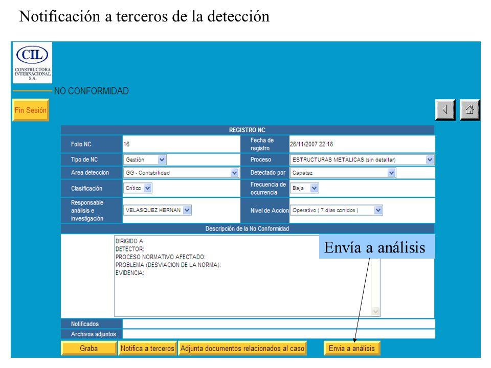 Envía a análisis Notificación a terceros de la detección