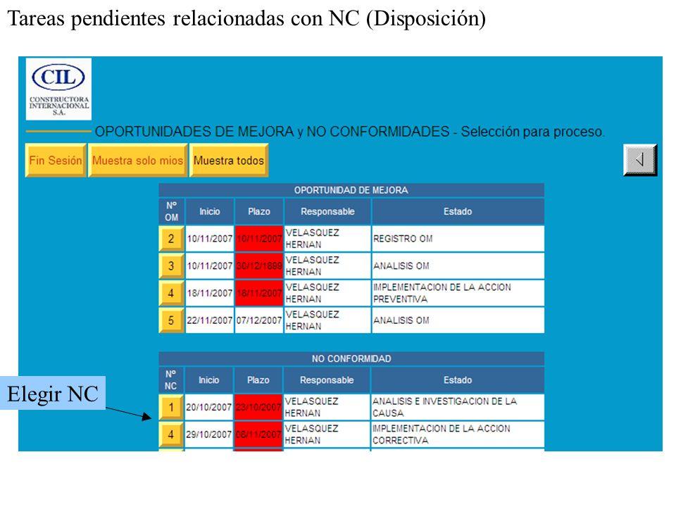Elegir NC Tareas pendientes relacionadas con NC (Disposición)