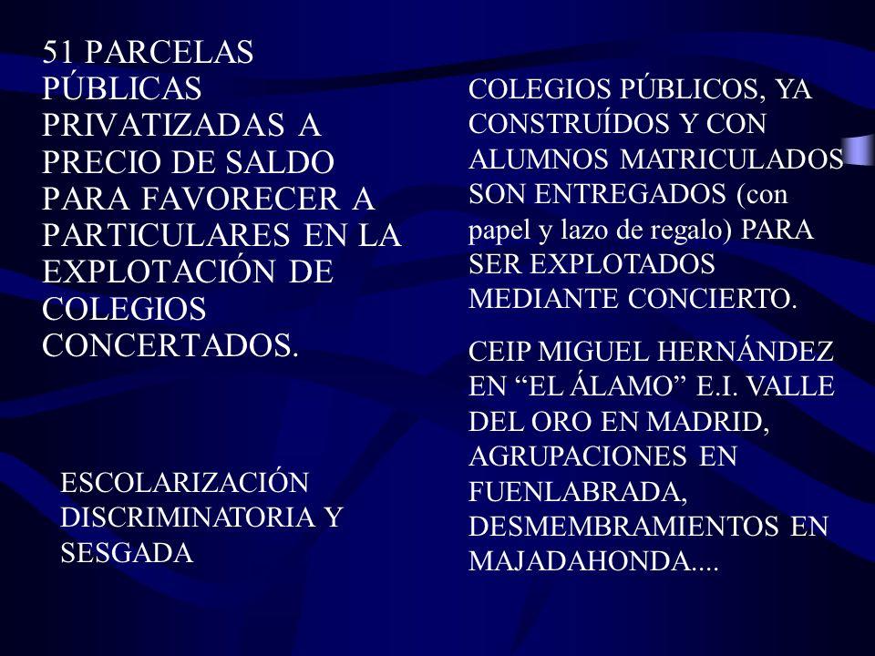 51 PARCELAS PÚBLICAS PRIVATIZADAS A PRECIO DE SALDO PARA FAVORECER A PARTICULARES EN LA EXPLOTACIÓN DE COLEGIOS CONCERTADOS.