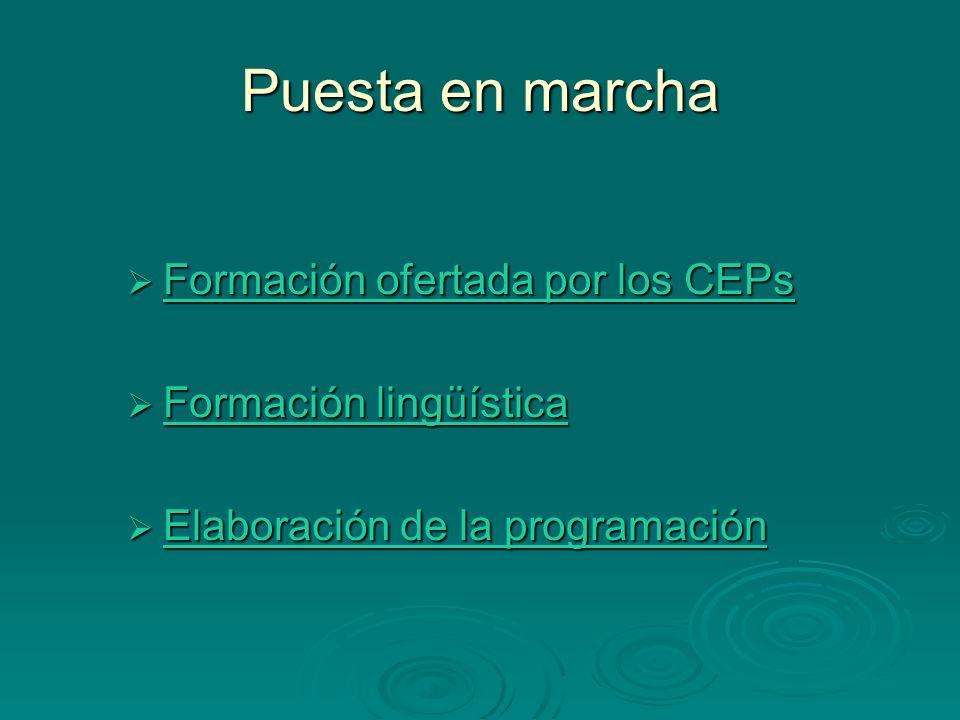 Puesta en marcha Formación ofertada por los CEPs Formación ofertada por los CEPs Formación ofertada por los CEPs Formación ofertada por los CEPs Forma