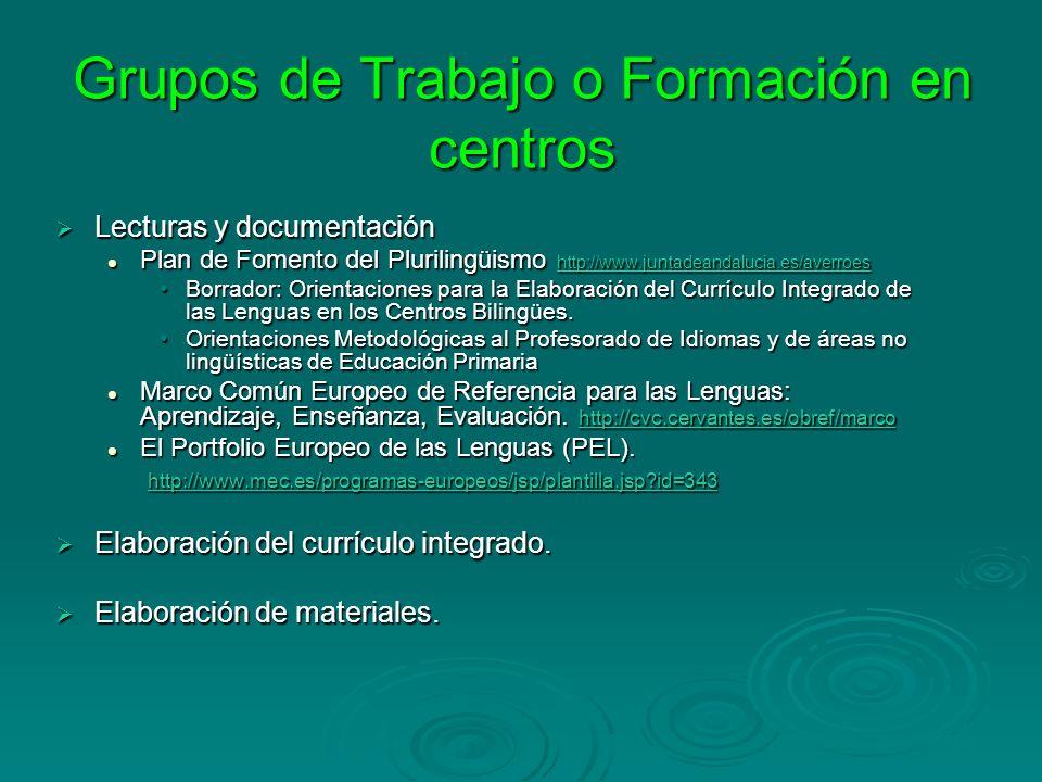 Grupos de Trabajo o Formación en centros Lecturas y documentación Lecturas y documentación Plan de Fomento del Plurilingüismo http://www.juntadeandalu