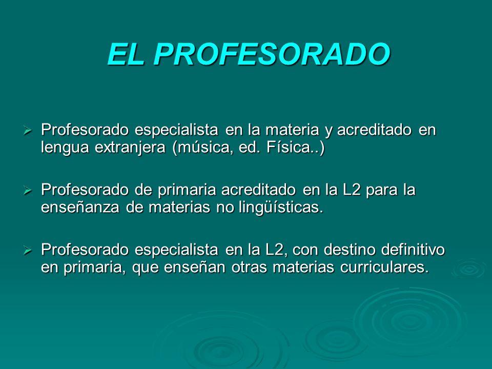 EL PROFESORADO Profesorado especialista en la materia y acreditado en lengua extranjera (música, ed. Física..) Profesorado especialista en la materia