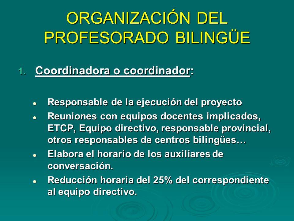 ORGANIZACIÓN DEL PROFESORADO BILINGÜE 1. Coordinadora o coordinador: Responsable de la ejecución del proyecto Responsable de la ejecución del proyecto