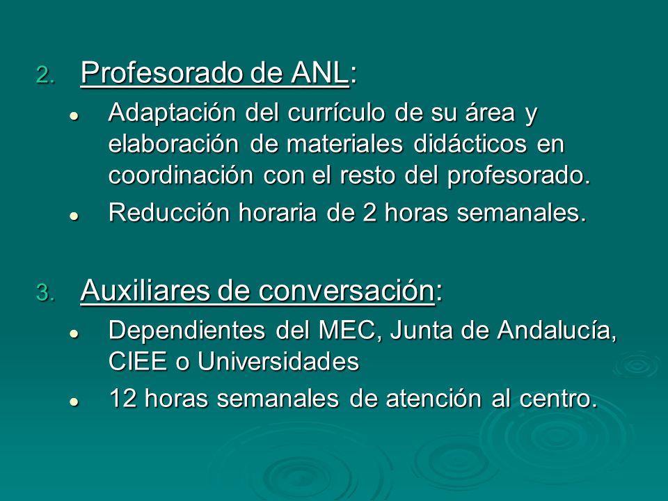 2. Profesorado de ANL: Adaptación del currículo de su área y elaboración de materiales didácticos en coordinación con el resto del profesorado. Adapta