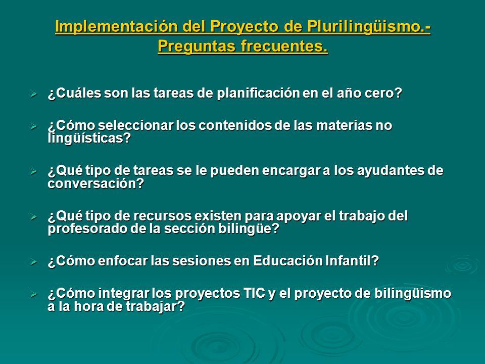 Implementación del Proyecto de Plurilingüismo.- Preguntas frecuentes. ¿Cuáles son las tareas de planificación en el año cero? ¿Cuáles son las tareas d