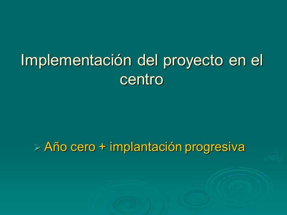 Implementación del proyecto en el centro Año cero + implantación progresiva Año cero + implantación progresiva