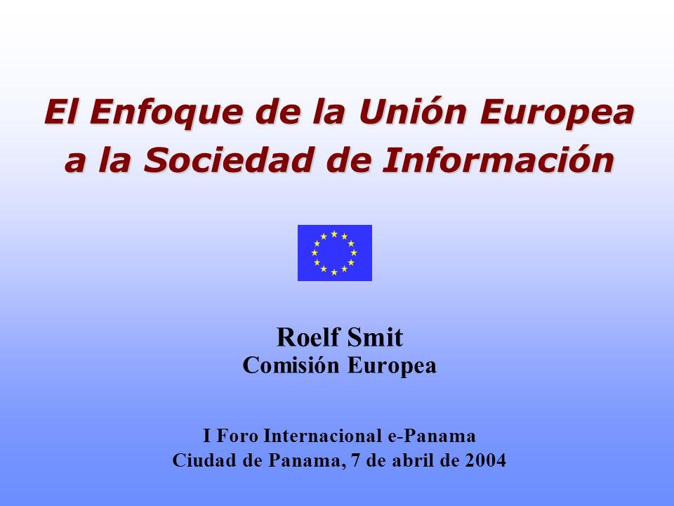 2 e-Europa – la estrategia-e de la UE Los líderes de la UE acordaron en marzo de 2000, en Lisboa: convertir la economía de la Union Europea en el año 2010 en lo más competitiva y dinamico del mundo, basada en una sociedad de la información Para realizar tal objetivo se lanz ó en Junio 2000: El plan e-Europa 2002; Y seguido en Junio 2002 por: El plan e-Europa 2005;