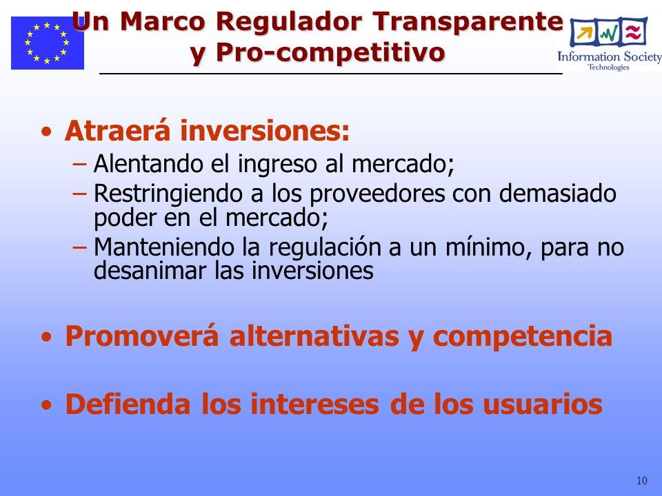 10 Un Marco Regulador Transparente y Pro-competitivo Atraerá inversiones: –Alentando el ingreso al mercado; –Restringiendo a los proveedores con demas