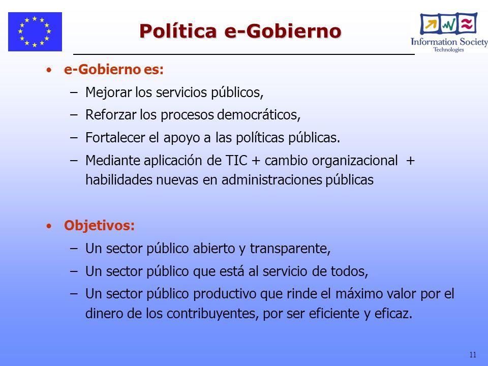 11 Política e-Gobierno e-Gobierno es: –Mejorar los servicios públicos, –Reforzar los procesos democráticos, –Fortalecer el apoyo a las políticas públi