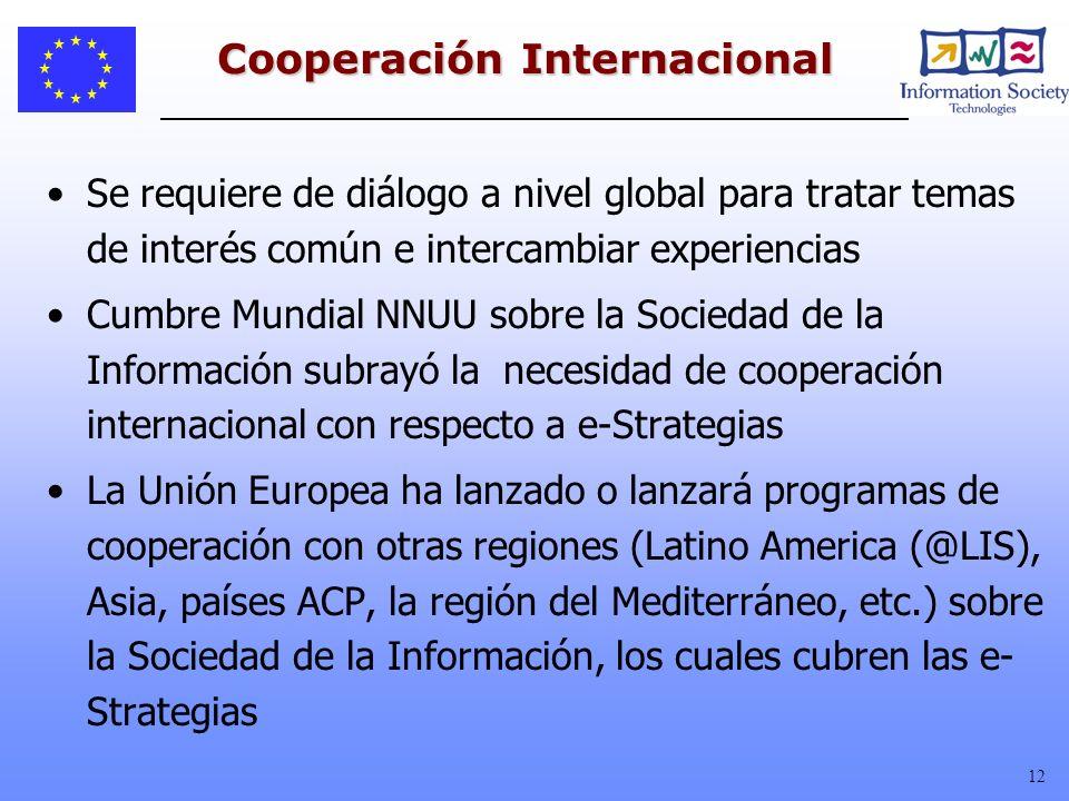 12 Cooperación Internacional Se requiere de diálogo a nivel global para tratar temas de interés común e intercambiar experiencias Cumbre Mundial NNUU
