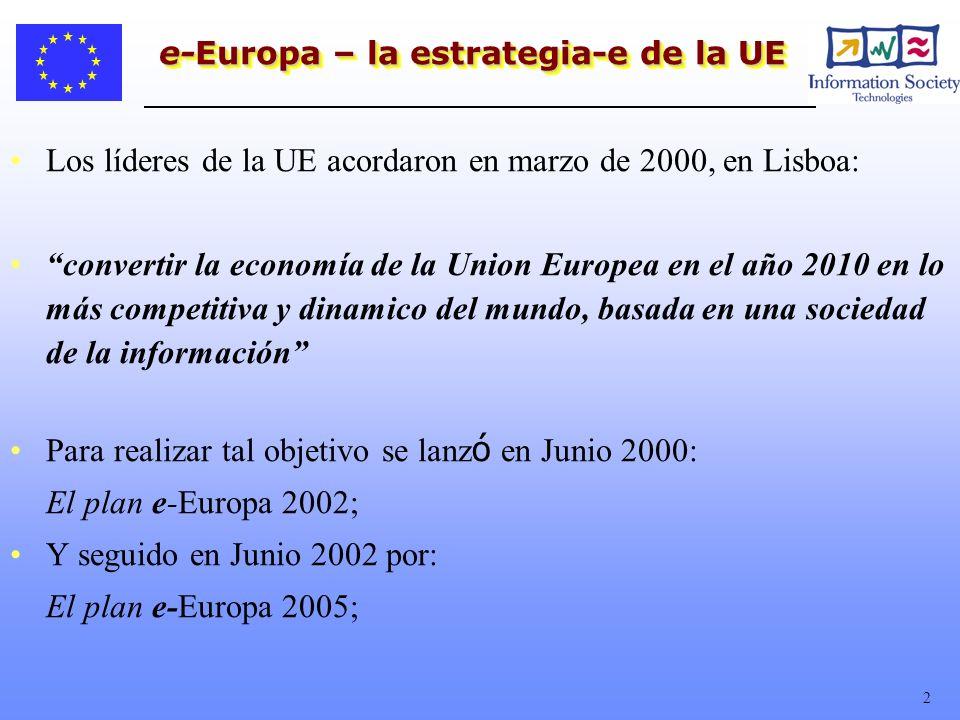 2 e-Europa – la estrategia-e de la UE Los líderes de la UE acordaron en marzo de 2000, en Lisboa: convertir la economía de la Union Europea en el año