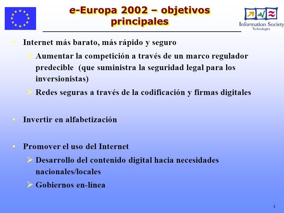 4 e-Europa 2002 – objetivos principales Internet más barato, más rápido y seguro Aumentar la competición a través de un marco regulador predecible (qu
